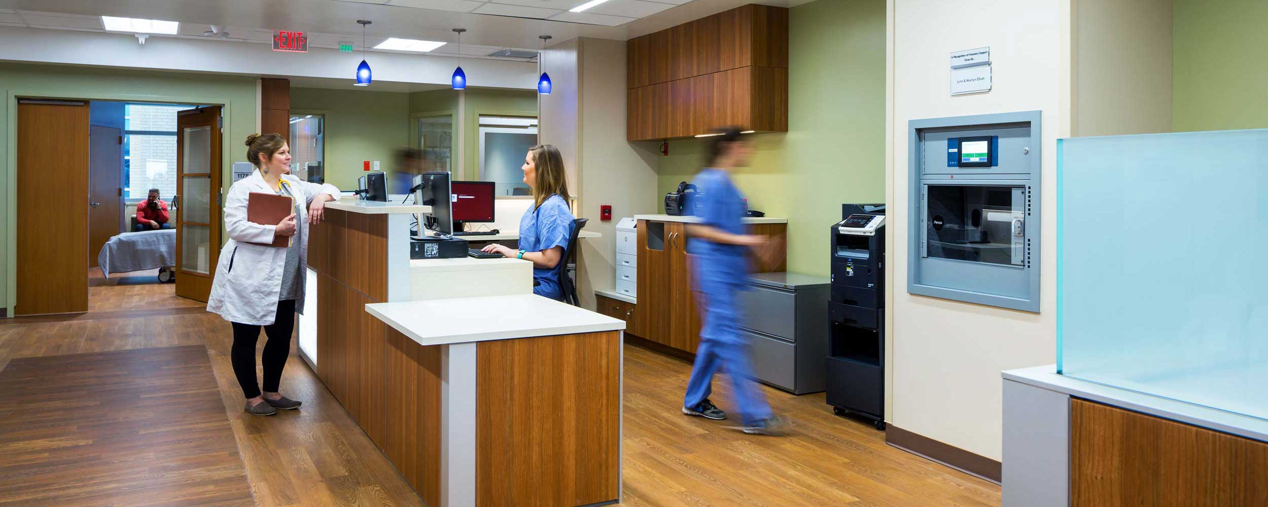 Patient health care professionals in Jennie Sealy Hospital